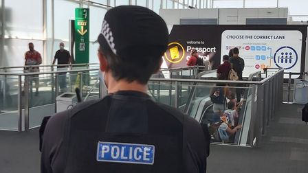 Essex Police and Border Force held patrols at Stansted to raise awareness of modern slavery. Pictur
