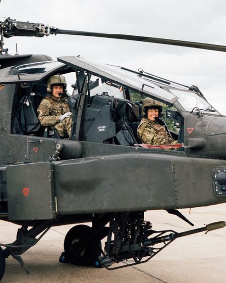Ms Churchill was accompanied by a flying instructor on her Apache helicopter flight across her const