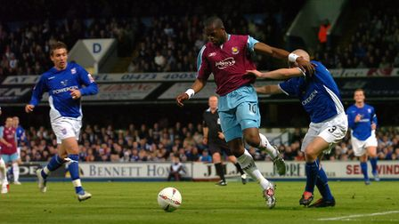 Marlon Harewood in action against Ipswich in the 2004/05 play-offs. Picture: ARCHANT