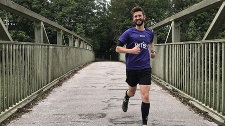Josh Wright has run 13 half marathons in 13 days for the My WiSH Butterfly Appeal. Picture: LAUREN D