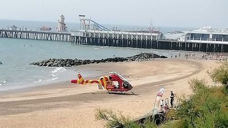 The air ambulance on the beach in Clacton-on-Sea following the incident. Picture: RYAN STACEY