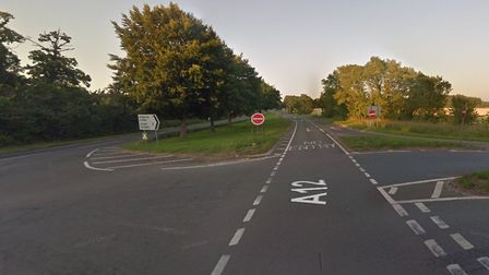 The A12 is closed southbound from the junction with the A1094 Picture: GOOGLE