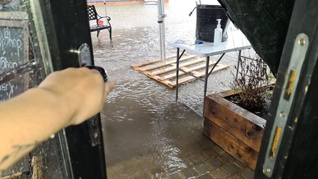 Severe flooding hit Ben and Ella's Farm Shop yesterday during the storm. Picture: ELLA SMART
