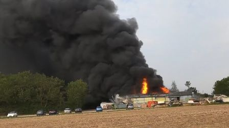A cyclist captured the Parham airfield fire on his GoPro. Picture: ROD MACFAYDEN