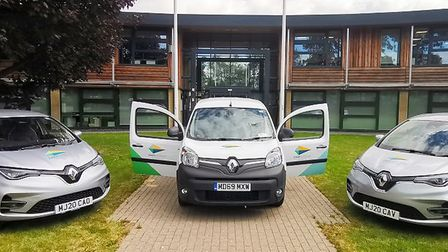 The new electric vehicles bought by East Suffolk Council. Picture: EAST SUFFOLK COUNCIL