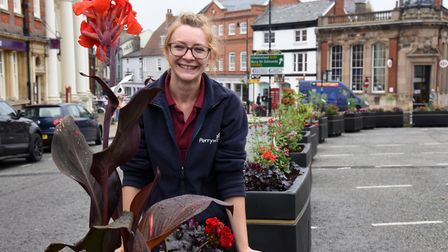 Plant manager at Perrywood, Jade Goodwin. New flower beds have been installed in Sudbury to replace