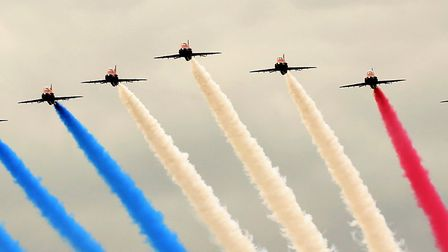 The Red Arrows were set to fly over parts of Suffolk today Picture: KEVIN WOOD