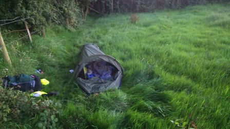 Brian Edwards, 68, carried the tent on his back for 11 days while he hiked 360 miles from one side o