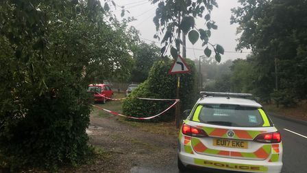 Police are still present at Wignall Street in Lawford following the explosion last night Picture: SO