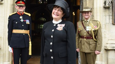The Lord Lieutenant of Suffolk, Clare, the Countess of Euston, with Major General (retired) John Sut