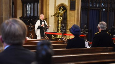 The Rev Simon Harvey leads the County of Suffolk VJ Service of Remembrance at St Mary's Church, Bury