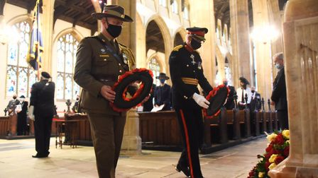 Lt Col Lachlan Sinclair, left, assistant army advisor, Australian High Commission, and Major General