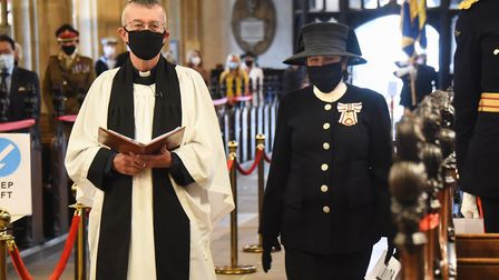 The Rev Simon Harvey leads the Lord Lieutenant of Suffolk, Clare, the Countess of Euston, to her sea
