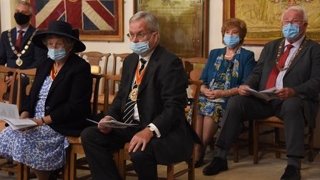 The congregation all wearing face masks at the County of Suffolk VJ Service of Remembrance at St Mar