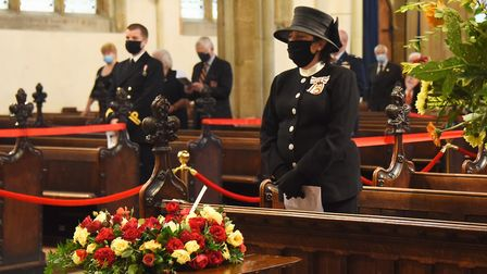 The Lord Lieutenant of Suffolk, Clare, the Countess of Euston, at the County of Suffolk VJ Service o