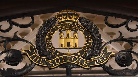 The Suffolk Regiment insignia above the Royal Anglian Regiment chapel at St Mary's Church, Bury St E