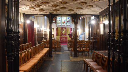 The regimental chapel of the Royal Anglian Regiment, laid up with the colours of the Suffolk Regimen