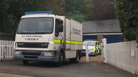 Bomb disposal experts at the scene in Lawford Picture: SOPHIE BARNETT