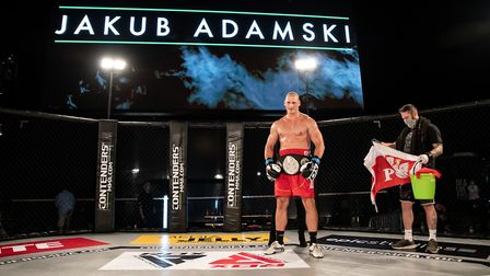 Norwich heavyweight Jakub Adamski lifted the heavyweight boxing title at Contenders 30 Picture: BRET
