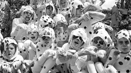 Not quite 101 of them but these Dalmatians took part in the Bury Carnival procession in 1982 Pictur