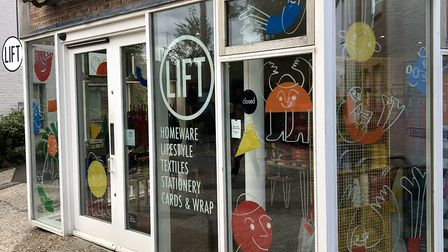 Lift in Southwold's current shop front, which was illustrated by Norwich artist Lottie Hall Picture: