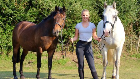 Georgie Veale and her horses Plum and Peter Picture: THE VEALE FAMILY