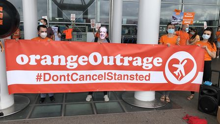 Protest were held at Stansted over the loss of easyJet Picture: CLAIRE LEES