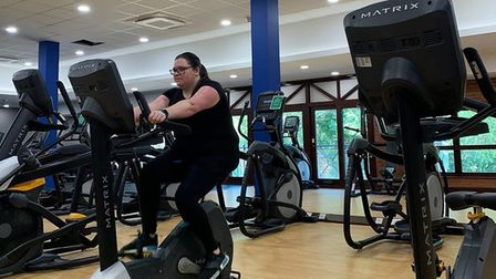 Working out the newly extended and revamped gym at Kingfisher Leisure Centre in Sudbury Picture: ABB