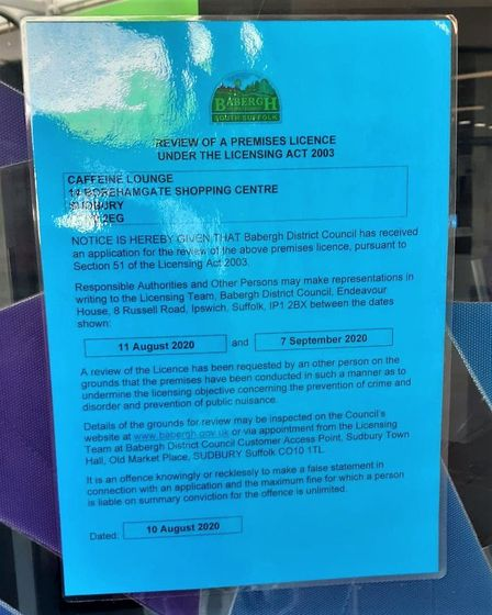 Caffeine Lounge in Sudbury has received a notice from Babergh District Council stating that its lice