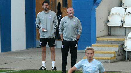 Ipswich Town boss Paul Lambert barks the orders at Colchester Picture: RICHARD BLAXHALL