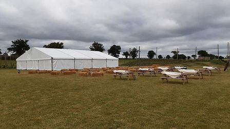 Picnic tables and hay bales besides the brewery's beer tent Picture: Star Wing Brewery