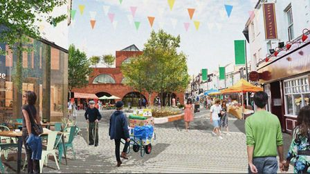 A CGI image produced for the Lowestoft Masterplan for what the Historic Quarter area could look like