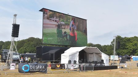 The giant screen being erected for the Drive-in Experience . Pictures: BRITTANY WOODMAN