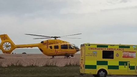 The East Anglian Air Ambulance landed on Aldeburgh beach Picture: MATT PHILLIPS