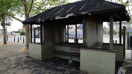 The bus shelter in Wickham Market was destroyed by fire Picture: JULIAN EVANS