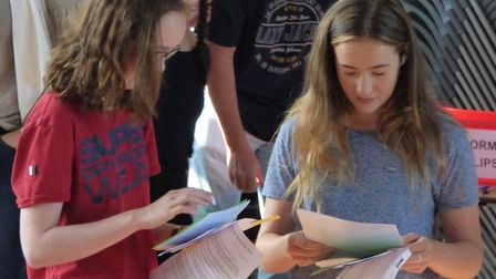 Students from Colchester County High School for Girls check out their results from a previous year P