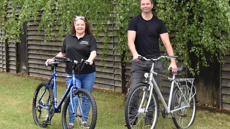 Angela Gregg and her colleague Neil Bevis from Hadleigh Foodbank Picture: CHARLOTTE BOND