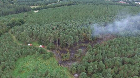 A discarded glass bottle caused this vast fire in Thetford Forest. Picture: NORFOLK FIRE AND RESCUE