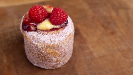 A raspberry and creme patissiere filled 'cruffin' from the Little Pig Bakery at Alder Carr Farm Pic