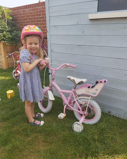 Felicity Walker from Colchester rode three miles on her bike for Cancer Research Picture: EMILY WALK