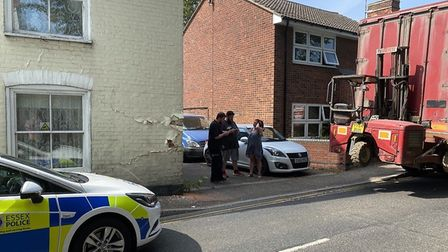Essex Police closed the B1033 after a lorry hit a house on the road. Picture: Alex Nicolic