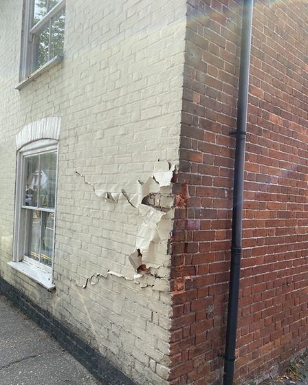 Essex Police closed the B1033 after a lorry hit a house on the road. Picture: NATALIE SADLER