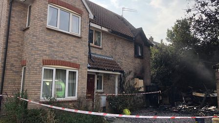 The badly damaged home of Mark and Lyn Young in Woolpit following the fire thought to have been caus