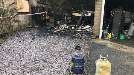 The fire destrpoyed the shed and caused extansive damage at the house in Woolpit. Picture: MARK LANG