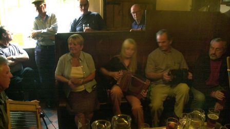 A typically social scene from the Kings Head at Laxfield before lockdown Picture: JAMIE NIBLOCK