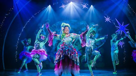 Deborah Tracey as Fairy Godmother with the ensemble in Colchester Mercury's pantomime Cinderella. Th