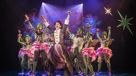 Nerine Skinner with the ensemble in last year's panto Cinderella. The Colchester Mercury have been f