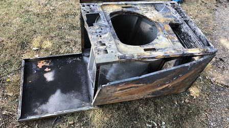 The burned-out tumble dryer which started the fire at the house in Gainsborough Road. Picture:MARK