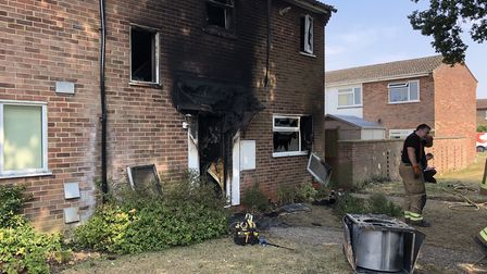 The fire caused extensive damage to the house in Gainsborough Road, Stowmarket. Picture: MARK LANGFO