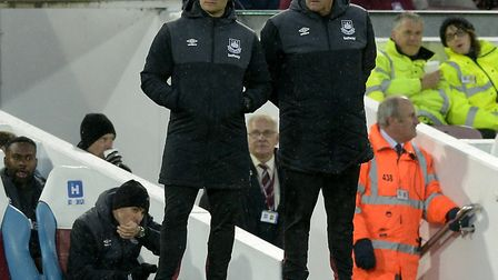 Liam Manning assists Terry Westley in coaching at the West Ham academy. The duo both started out at